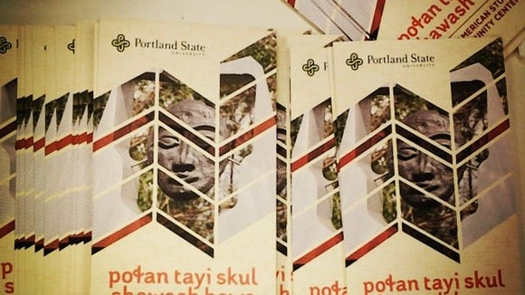 These NASCC pamphlets written first in Chinuk Wawa, the traditional Native American Language of the Portland area. (Alina Begay, courtesy)