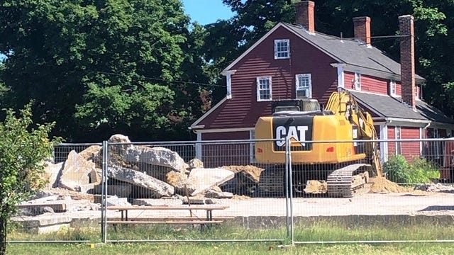 Demolition of Plainville's old Town Hall, which also once served as a fire station, was completed last week.