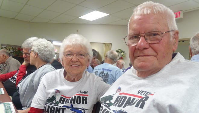 U.S. Army veterans Doris and Terry Casey, of Keene, from left, have now both taken Honor Flight trips to Washington, D.C., to visit the nation's war memorials. The Caseys were among local veterans honored Thursday during a luncheon in the Senior Center.
