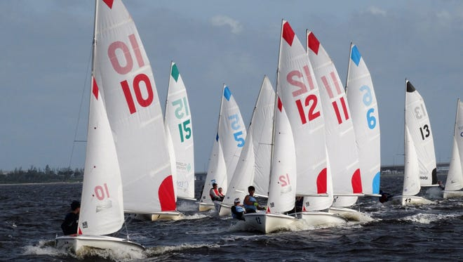 The US Sailing Center Martin County High School Sailing Program Participants racing on the Indian River Lagoon in Jensen Beach.