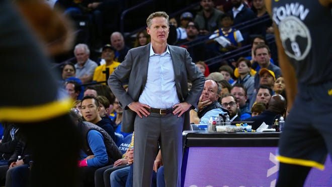 Feb 12, 2018: Golden State Warriors head coach Steve Kerr on the sideline during the third quarter against the Phoenix Suns at Oracle Arena.