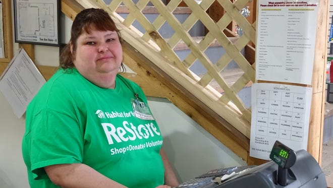 Amy Paulunis is the head cashier at the Coshocton ReStore. She's volunteered about a year and a half at the shop, which benefits Coshocton County Habitat for Humanity by selling new and gently used furniture, building materials and other household items.