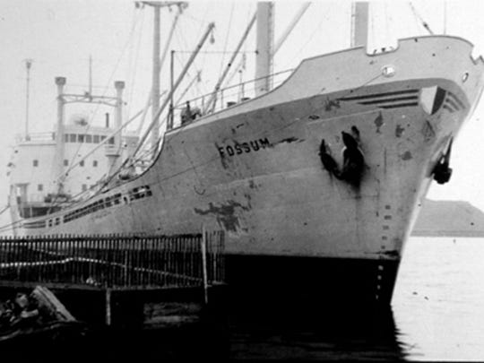 Kohler Company began making bath fixtures of vitreous china in addition to their enameled cast iron fixtures in the mid-1920s. The company imported clay from Cornwall, England which came to Sheboygan on Norwegian ships including the Fossum, seen here. These ships were unloaded at the Goodrich docks by crane and trucked to Kohler Company. Foreign ships brought clay to Sheboygan until 1962, when the company began using clay from the state of Georgia.
