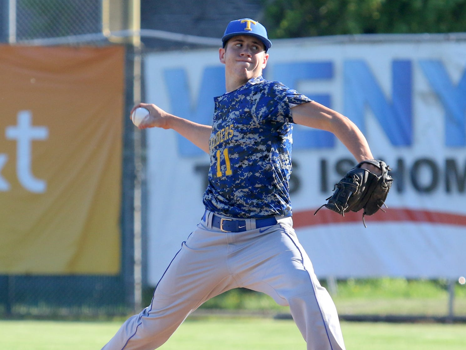 Trumansburg's Trevor Rumsey delivers a pitch against Tioga in the IAC Small School championship game at Dunn Field on Thursday.