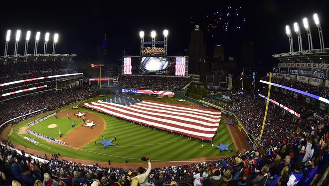 General view during the playing of the national anthem before game one of the 2016 World Series last fall between the Chicago Cubs and the Cleveland Indians at Progressive Field.