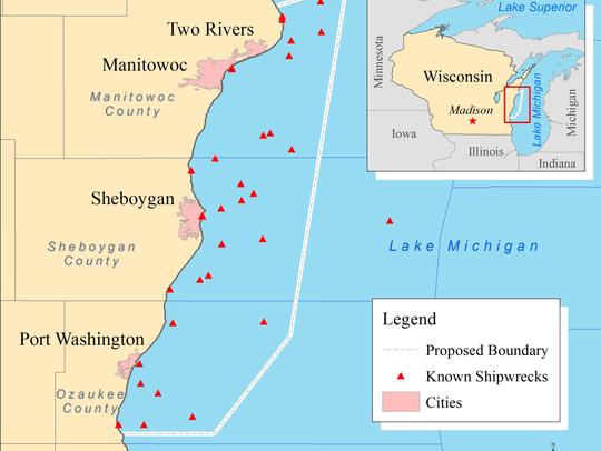The proposed national marine sanctury along Wisconsin's