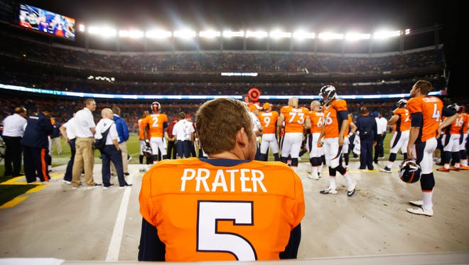Aug 7, 2014: Denver Broncos kick Matt Prater (5) during the game against the Seattle Seahawks at Sports Authority Field at Mile High. The Broncos won 21-16.