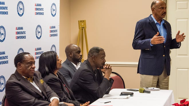 Candidates, from left, Fred Bell, Deborah Anthony, David Burkette, Tony Cobb and John Knight answer questions during the Alabama Democratic Conference candidate forum for Senate District 26 in Montgomery, Ala. on Tuesday November 28, 2017.