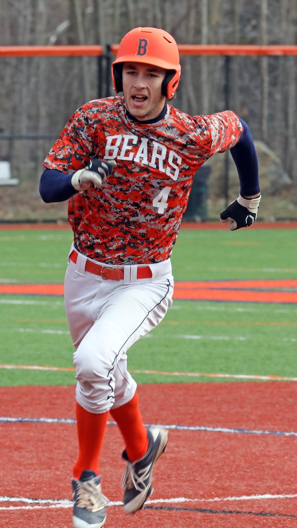 Briarcliff's Noah Campo (4) rounds the bases after