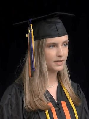 Beverly High School senior Audrey Veator, salutatorian of the Class of 2020, addresses her classmates in a prerecorded video.