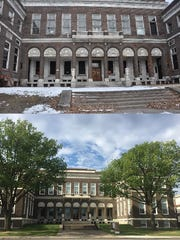 Before-and-after images of Eastman Gardens on East Main Street in Rochester
