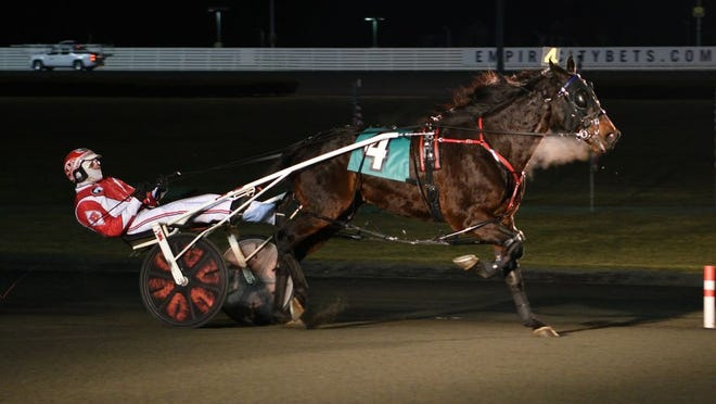 Jack's Legend N, driven by Jason Bartlett, won a feature at Yonkers Raceway on Saturday, Feb. 8, 2020.