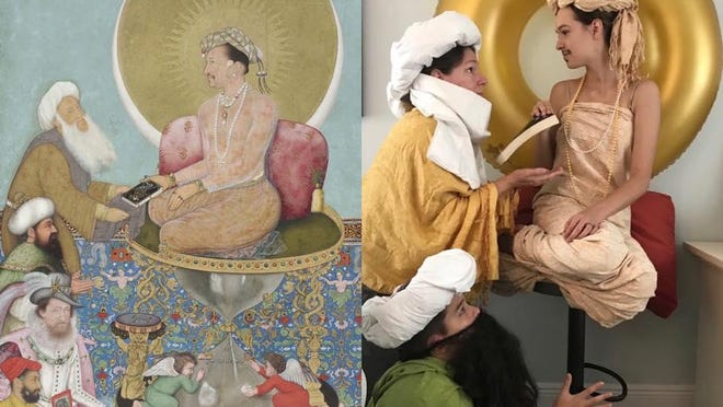 A Dreyfoos School of the Arts student recreates the painting 'Jahangir Preferring a Sufi Shaikh to Kings' for her art history class.