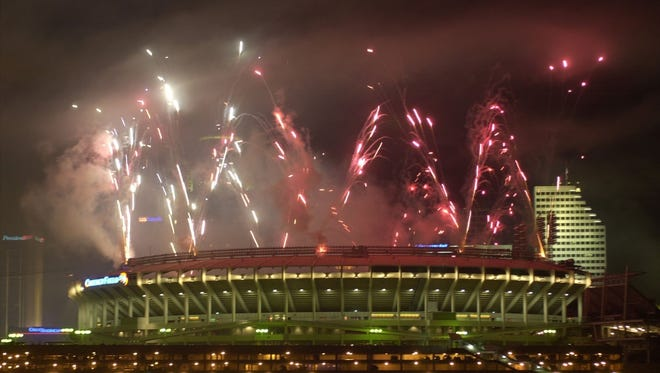 Fireworks are set off from Cinergy Field.