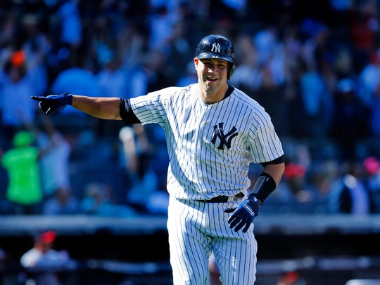 New York Yankees catcher Gary Sanchez (24) reacts after