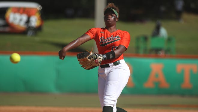 FAMU's Kyaira Brown pitches during the first game of their doubleheader against North Carolina A&T at the Lady Rattler Softball Complex on Friday.