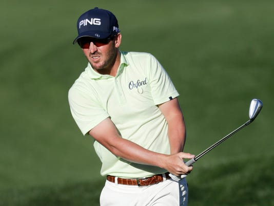 Andrew Landry watches his tee shot from the rough on the ninth hole during the third round of the CareerBuilder Challenge golf tournament on the Stadium Course at PGA West Saturday, Jan. 20, 2018 in La Quinta, Calif. (AP Photo/Chris Carlson)