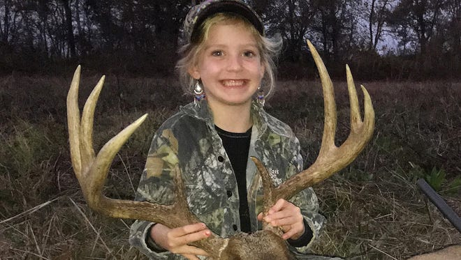 Baleigh Armstrong, 6, of Hinds County, harvested her second buck this season. The eight-point had an 18-inch spread and weighed 224 pounds.