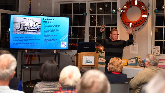 Bob Desh kicked off the monthly Maritime Speakers Series at the Door County Maritime Museum, Sturgeon Bay, on Thursday, Dec. 8, 2016, with a program surrounding the ill-fated 1856 steamship Niagara that caught fire and sunk off Port Washington.