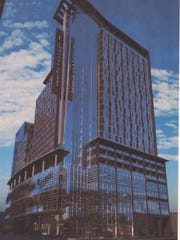 A progress print provides the first glimpse of the Embassy Suites hotel planned at Eighth and Demonbreun.
