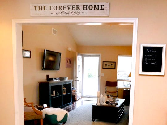 Sarah Dorris moved into her townhome in the Villas of Evergreen Farms subdivision in 2015 and has named her new place The Forever Home.