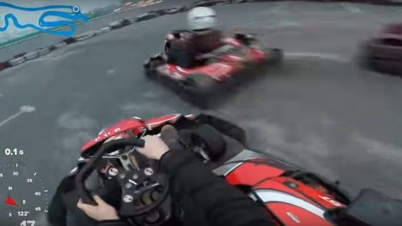 A go-kart driver wearing a helmet cam captured a terrifying