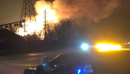 An image of a fire in Orion Twp. from a tweet from the Auburn Hills Police Department.