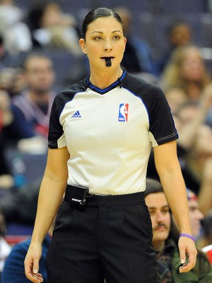 Referee Lauren Holtkamp worked a few NBA games last season but now joins the full-time staff.