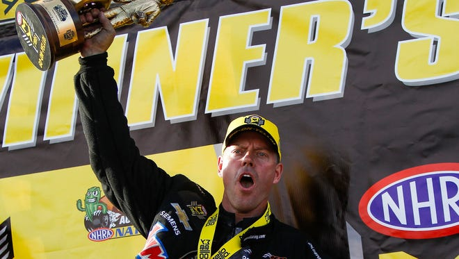 Pro Stock winner Jason Line celebrates at the Carquest Auto Parts NHRA Nationals on Sunday, Feb. 28, 2016, at Wild Horse Pass Motorsports Park near Chandler.