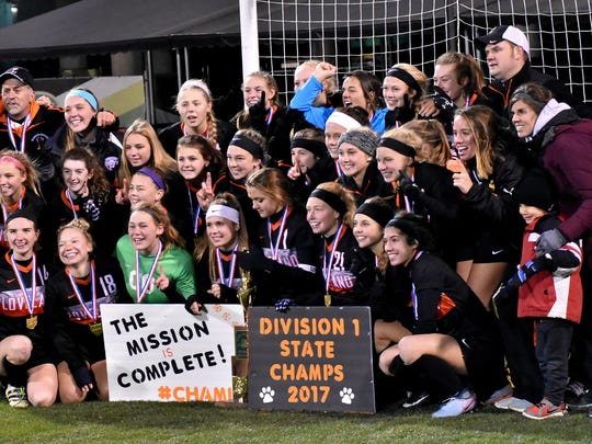 The Loveland Tigers are the Division1 Girls State Soccer Champions of 2017, Nov. 10, 2017.