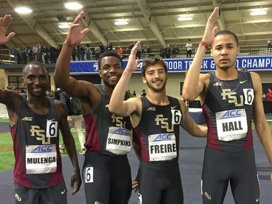 Michael Hall and the distance medley team last indoor track season.