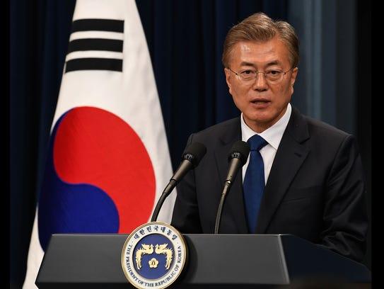 South Korea President Moon Jae-In speaks during a press