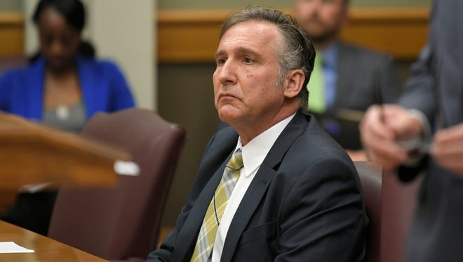 Williamson County Superintendent Mike Looney listens during a hearing testimony in Williamson County General Sessions Court  in Franklin, Tenn., Wednesday, April 25, 2018. regarding an assault charge stemming from a Feb. 20 incident ay Franklin High school.