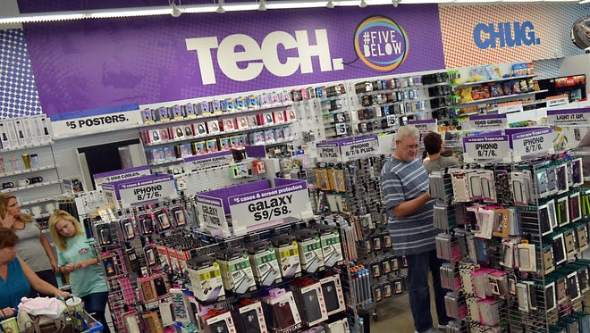 Five Below has eight merchandise categories: tech, sports, create, party, candy, room, style, and now.