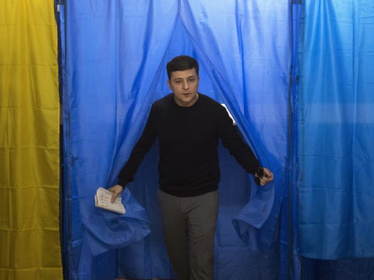 Volodymyr Zelenskiy, who stars in a TV sitcom about a teacher who becomes president after a video of him denouncing corruption goes viral, led the field of 39 candidates with 30.4 percent of the vote, according to an exit poll by the Kiev International Institute of Sociology and the Razumkov public opinion organization.