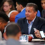 """""""(Willie Cauley-Stein) has come so far as a player. He and I became book cpu members together. I would make him read books. One of the things he said last year is 'I'm enjoying school.' That's what we're supposed to be about,"""" said Kentucky head coach John Calipari at the podium Thursday at the Final Four in Indianapolis at Lucas Oil Stadium. By Matt Stone, The C-J April 2, 2015."""