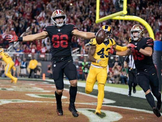 San Francisco tight end Garrett Celek caught his first