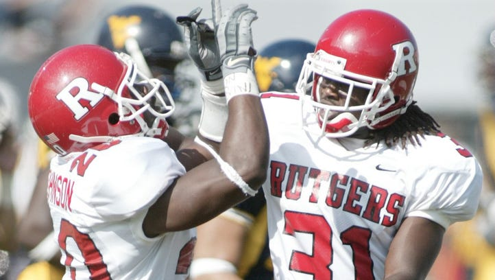 Jarvis Johnson (20) and Eddie Grimes (31) banded together from Florida to come to commit to Rutgers football in 2001.