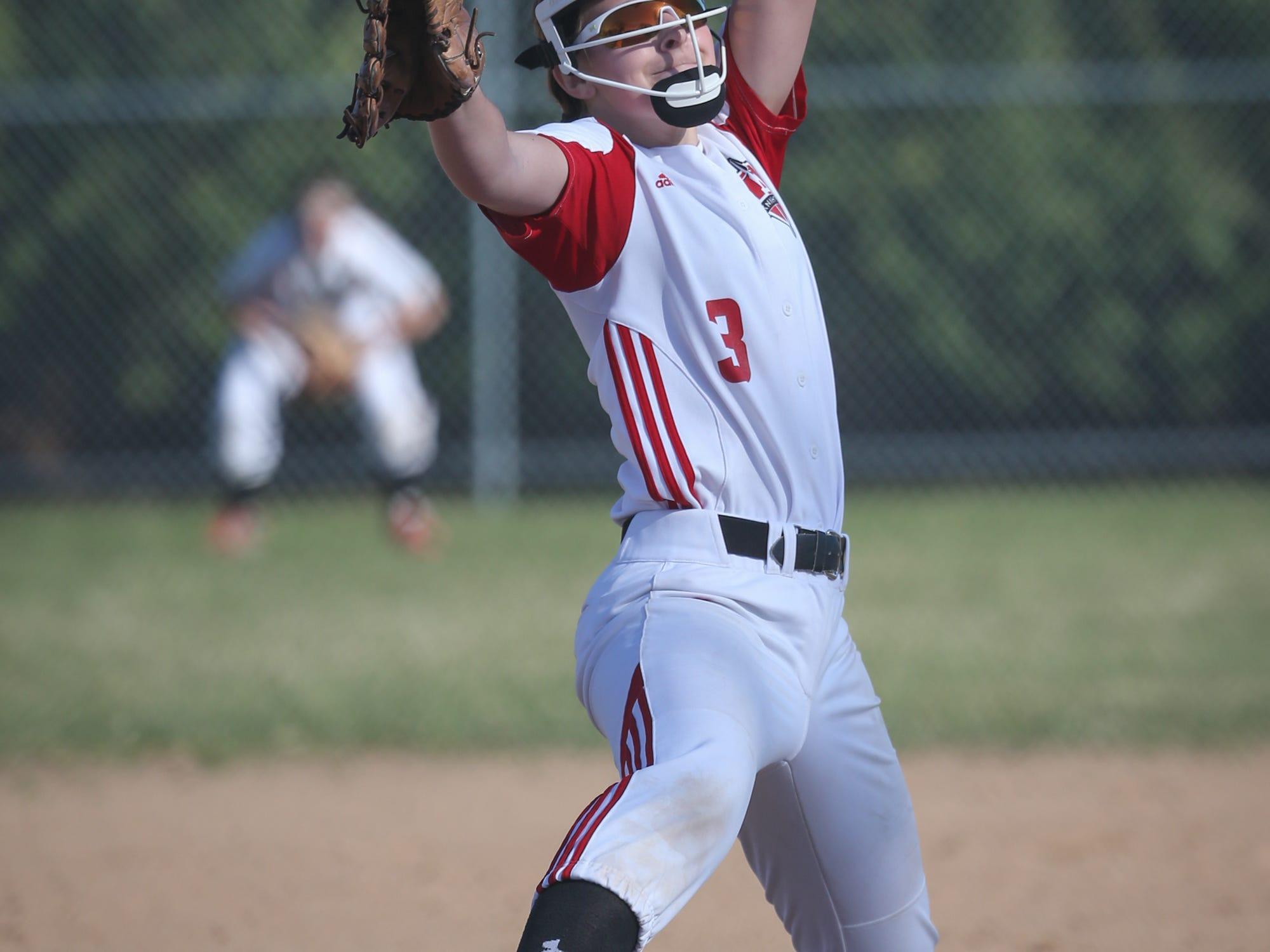 Lourdes pitcher Lauren Schiek (3) winds up for a pitch Thursday against Pardeeville.