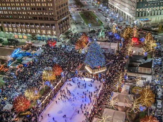 Enjoy complimentary ice skating at Campus Martius in downtown Detroit.