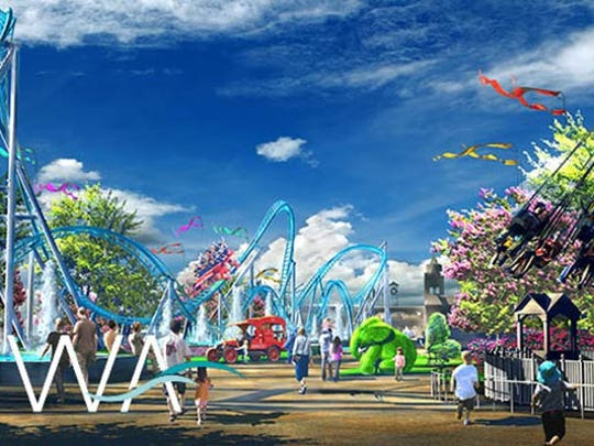 A rendering of the Owa theme park set to open in May in Foley, Ala.