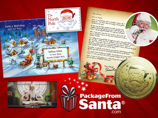 Send a letter from Santa for only $7 or upgrade to a North Pole package. See the kid-testing of the package.