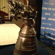 A model of the BE-4 engine Blue Origin is building.