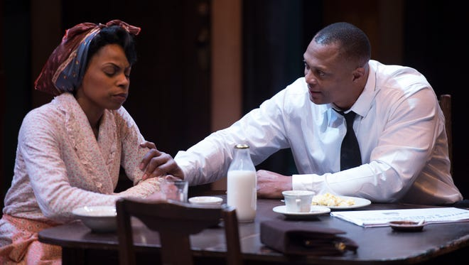 "Former Titans star running back turned actor Eddie George is returning to the stage in Nashville for the first time since appearing on Broadway last year. He's starring in the play ""A Raisin In the Sun,"" with Tamiko Robinson Steele which opens Saturday at TPAC. Thursday, March 23, 2017 in Franklin, Tenn."