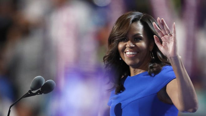 First lady Michelle Obama takes the stage during the first day of the Democratic National Convention in Philadelphia in July 2016.