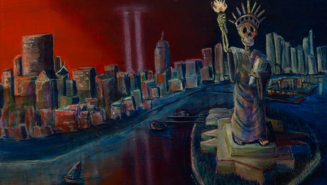 """""""La Libertad,"""" a painting by Asheville artist Chris Corral, is part of an exhibition at UNC Asheville commemorating Hispanic Heritage Month."""