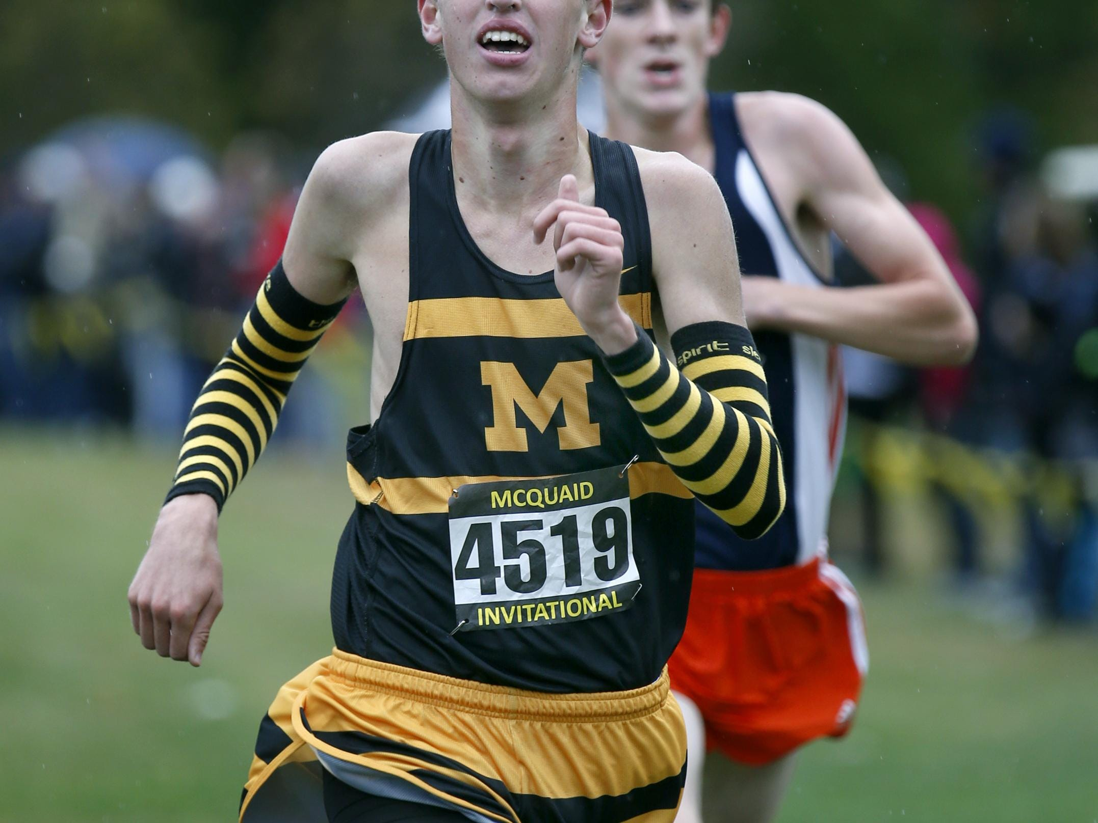 Boys Seeded Varsity AAA: In 4th McQuaid Jesuit's place Donny Glavin with a time of 15:08.6 during the McQuaid Invitational cross country meet at Genesee Valley Park.