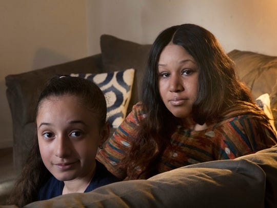 Jashauna Creadle and her daughter, Jalylah Vasquez, 9, have concerns about a mold issue in their apartment at Olympic Gardens in Brick. Jalylah has asthma.