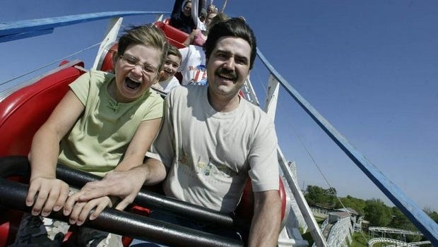 Roller coaster fans ride the Tornado in this undated photo.