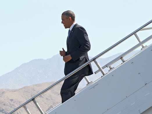 President Obama gets off Air Force One shortly after landing in Palm Springs, Friday, June 5th, 2013.